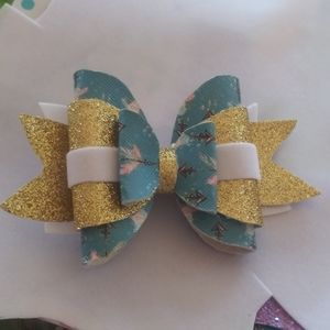 Canvas and faux leather hair bow